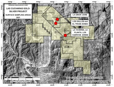 Terreno Exploration Update for the Las Cucharas Gold and Silver Project Includes Silver Values up to 635 g/t Ag and Discovery of a Base Metal Zone